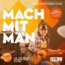 Zu sehen ist ein Mädchen mit einer Gitarre in der Hand. Text im Bild: Mach Mit Män. www.ausgezeichnet.lvr.de. Jetzt bewerben! Dein Engagement wird belohnt. LVR