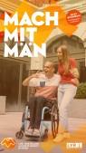 Zu sehen ist eine Junge im Rollstuhl und ein Mädchen von denen gerade ein Foto gemacht wird. Text im Bild: Mach Mit Män. www.ausgezeichnet.lvr.de. Jetzt bewerben! Dein Engagement wird belohnt. LVR