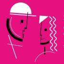 Schemenhafte Darstellung zweier Personen in Bauhaus-Typo.