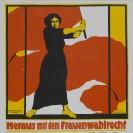 Motiv des Plakats vom Frauentag am 8. März 1914, mit einer Frau die eine rote Fahne schwingt.