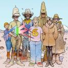 Eine Comic-Zeichnung zeigt die verschiedenen bunten Charaktere des Künstlers.