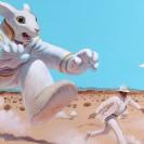 Eine Comic-Zeichnung zeigt einen gigantischen Hasen, der einen Man in der Wüste jagt.
