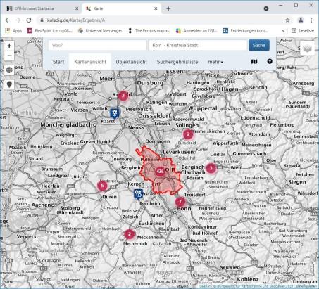 Überarbeitete Kartenansicht in KuLaDig; Screenshot (2021)