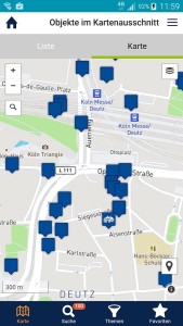 Eine Vorschau der KuLaDig-App. Eine Karte auf der mehrere, kulturlandschaftlich interessante Objekte verzeichnet sind.