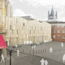 Computersimulation, die den Blick auf das neue Museum vom Gülichplatz aus zeigt.